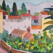 Aquarell Nr. 347 SigTh-AQ HA Tessiner Dorf mit Reben 1922 24x31 cm_bearbeitet-1