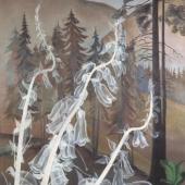 Hannah Höch: Digitalis – vor Tannenwald im Gebirge, 1938, Öl auf Leinwand, Privatsammlung, VG Bild-Kunst, Bonn 2017