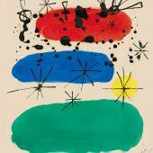 """ohne Titel, Entwurf für den Umschlag des Buchs """"Constellations"""", Gouache und Chinatusche auf Papier, 1959 © Successió Miró / VG Bild-Kunst, Bonn 2018 © Galerie Boisserée, Köln 2018"""