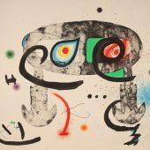 """""""Le hibou blasphemateur"""", (Die lästernde Eule) Farbaquatintaradierung, 1975 © Successió Miró / VG Bild-Kunst, Bonn 2018 © Galerie Boisserée, Köln 2018"""